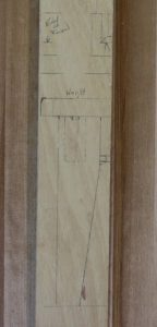 The footstool layout stick is detailed enough to show the joinery and the taper of the legs.