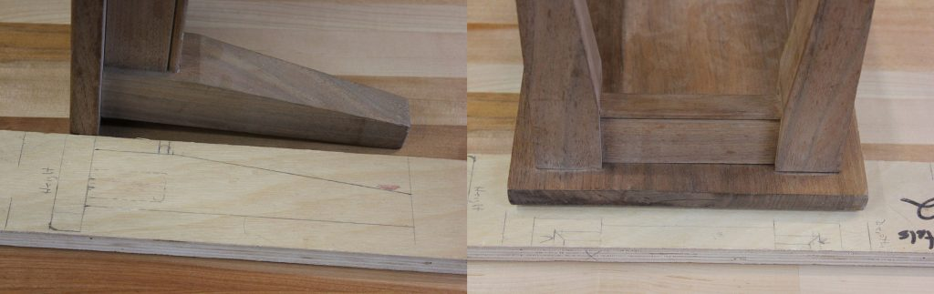 Using the layout stick with the dry-assembled stool, you can easily verify that you've cut everything to the proper size before glue-up.