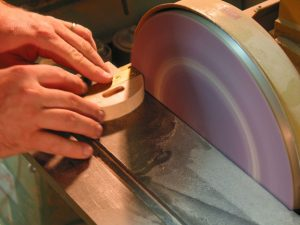 The disc sander makes short work of shaping the fence assembly.