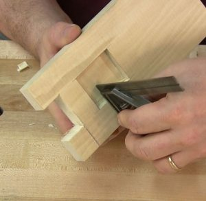 Controlling the chop cuts precisely is important. Be sure the mortise walls are perfectly square.