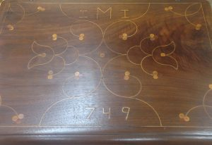 Line and berry inlay is often found on 18th century document boxes from Chester County, PA.